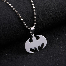 Fashion Stainless Steel Jewelry Punk Statement Necklace Trendy Silver Color Slippy Bat Batman Pendant Necklaces For Men Jewelry