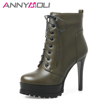 ANNYMOLI Women Ankle Boots Winter Platform Extreme High Heels Boots Sexy Female Thin Heel Short Boots Autumn Shoes Red Size 43(China)