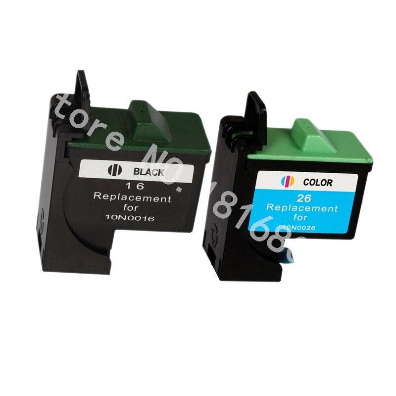 3pk черный + цвет совместимо для lexmark 16 26 10n0016 10n0026 чернил картридж для принтеров lexmark z13 z23 z25 z33