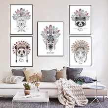 Indian Animal Head Art Print Poster Fashion Deer Horse Zebra Wolf Wall Pictures Canvas Painting No Framed Home Decor PP043(China)