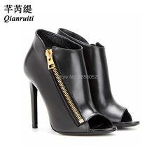 Qianruiti zapatos mujer Tacon 2018 primavera sexy Tacones altos cremallera  de Oro Negro Botines estilete Bombas señoras Zapatos . 3181fdf191e2