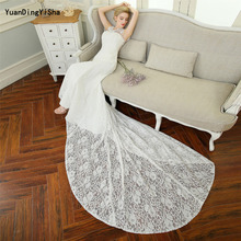 Real Photos Sexy Lace mermaid Wedding Dress Scalloped Neck 2017 Vestido De Noiva Tank Lace-Up Robe De Mariage Lace Bridal Dress