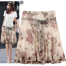 Plus Size 2018 Elegant Hot Formal Floral Summer Chiffon Women Skirts Plus Size Ruffles Design Vintage Skirt Saias Femininas(China)