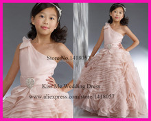 2015 Princess Light Pink Flower Girl Dresses One Shoulder Tiered Organza Floral First Communion Dress LG113