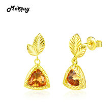 MoBuy MBEI009 Leaf Trillion Natrual Gemstone Citrine Drop/Dangle Earrings 925 Sterling Silver 14K Yellow Gold Plated For Women