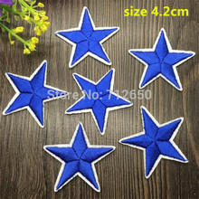 WL New arrival 10 pcs Electric blue Color little star Embroidered patches iron on cartoon Motif Applique embroidery accessory(China)