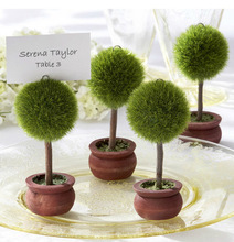 1pc Creative Green Potted Seat Clip Name Card Holder Round Small Table Clip Wedding Banquet Party Supplies 2150TC