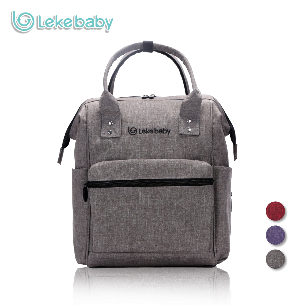 Lekebaby Oversized Opening Diaper Bag Backpack Built-in Steel Ring Support Nappy Tote Bag Large Capacity for Travel Outdoors<br>