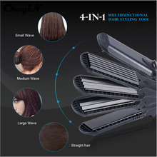 Hair Straightener & Corn Wide Waves Plate 4 style Interchangeable Hair Curling iron Corrugated Flat Iron Hair Curler styler Tool(China)
