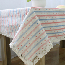 Cotton Linen Table Cloth Lacework Blue&Pink Striped Tablecloth Table Cover Dining Table Decoration Mantel De Mesa Dustproof  CT