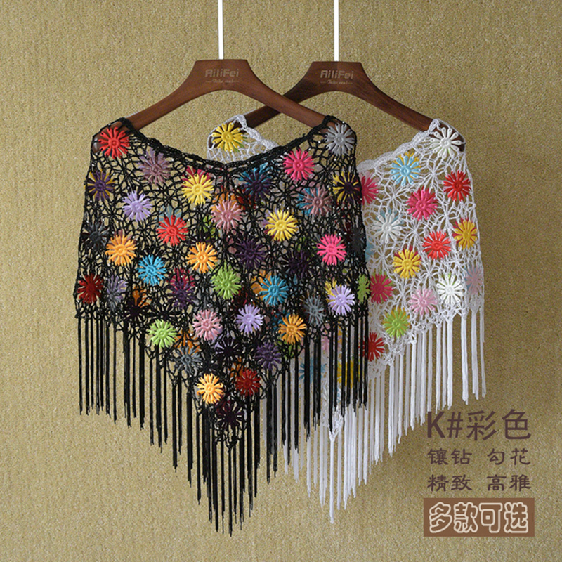 Summer Style Ice Silk Thin Lace Blouse Lady Sunscreen Crochet Shawl Hollow Out Flower Patterns Cape shirts blusas(China (Mainland))