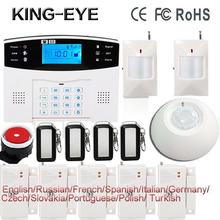 Russian/Polish/French/Spanish voice prompt LCD display home security alarm system gsm sms auto dial roof ceiling infrared sensor(China)