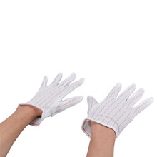 NEW 1 Pair ESD PC Computer Working Antiskid Anti-static Anti-skid White Gloves New Polyester Hot Sale