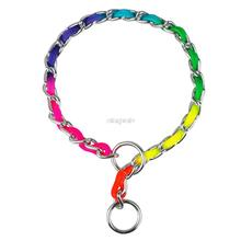 Fashion Rainbow Color Training P Choke Dog Pet Chrome Metal Chain Collar