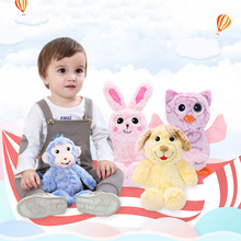 Plush Infant Baby Development Soft Animal Handbells Rattles Handle Toys Hot Selling With Music Baby Toy(China)