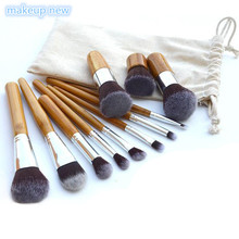 11Pcs/lot Makeup Cosmetics Tools Natural Bamboo Handle Eyeshadow Cosmetic Makeup Brush Set Blush Soft Brushes Kit With Bag