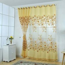 Sheer Voile Curtains Beads Door Chic Room Flower Sheer Curtain For Living Room Home Decoration