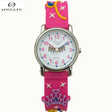 WILLIS Brand Kids Watches Young Children Girls Watches Fashion Age 5-10 Time Teacher Cartoon Character 3D Princess Silicone Band