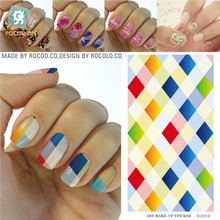 Vintage colours plaid design Water Transfer Nails Art Sticker decals girl and women manicure tools Nail Wraps Decals KG021A
