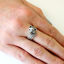 wholesale 10pcs  ancient silver fox ring Handmade retro animal ring in jewelry for women