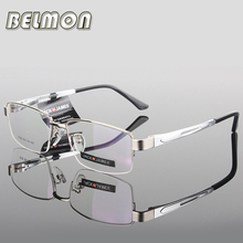 AL-MG Spectacle Frame Eyeglasses Men Computer Optical Eye Glasses Frame For Male Transparent Clear Lens Armacao Oculos de RS276