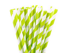 Hot Color 100pcs Stripe Paper Straws Lime Green Drinking Straws For Party Decoration Supply Eco craftpaper(China)