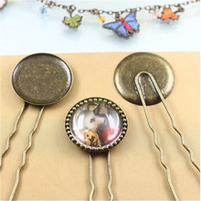XINYAO Promotion 10pcs Blank Hairpins Base Hair Clip Tray Fit 20/25mm Photo Glass Cabochon Cameo Settings Jewelry Making K0706