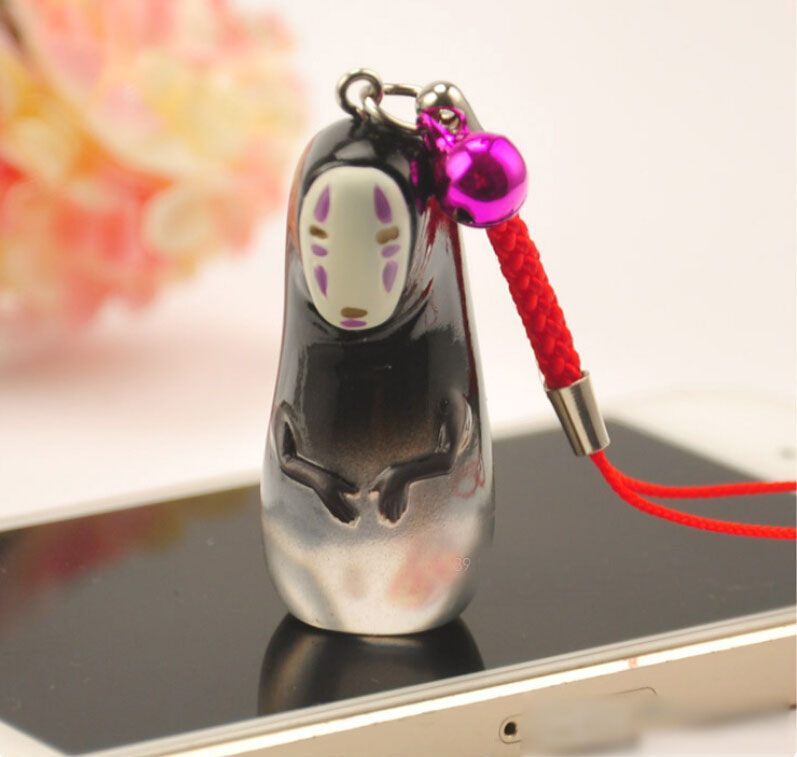 Japanese Anime Figure Studio Ghibli Spirited Away Faceless Man Glass Strap Pendant Toy Hayao Miyazaki Figures Kids Toys(China (Mainland))