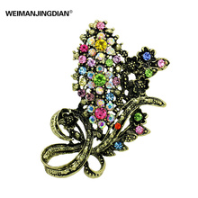 WEIMANJINGDIAN Brand Antique Gold Color Plated Vintage Style Floral Pins and Brooches in assorted colors