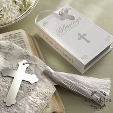 12PCS Baby shower favor Cross bookmark with bible box packing happy birthday party supply gift souvenirs wedding