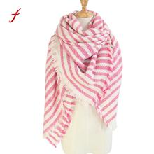 Feitong Quality Winter Scarves For Female Square Stripe Scarf Girls Shawls Snud Bandana Plaid Blanket Women Scarves Shawls(China)