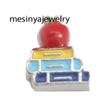 best quality 10pcs Apple and book floating charms for glass locket Min amount $15 per order mixed items,(China)