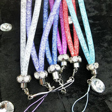 8pc Luxury Colorful Crystal Bling Mobile Phone Strap Neck lanyard for Phones Keys ID Card Rhinestone Charm Cords Hang Rope