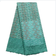 African swiss voile lace high quality 100% Cotton Swiss Voile Lace In Switzerland cotton nigerian lace fabrics green f16121301