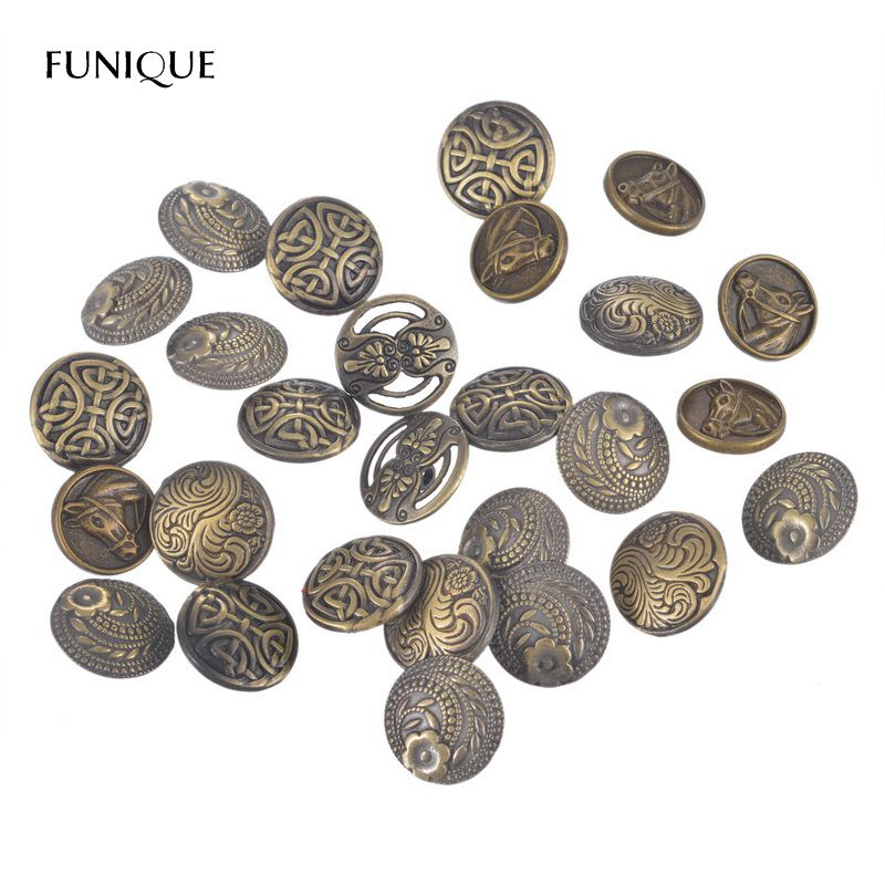 FUNIQUE 50 Pcs/Lot Fashion Metal Shank Jeans Buttons Sewing Knots Round Bronze Tone Sewing Scrapbooking(China)