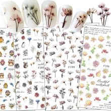 1 Sheets Nail Art Stickers Colorful Flower Animal Design Decoration Nail DIY 3D Adhesive Stickers Polish Decals Tips CHF95-F204