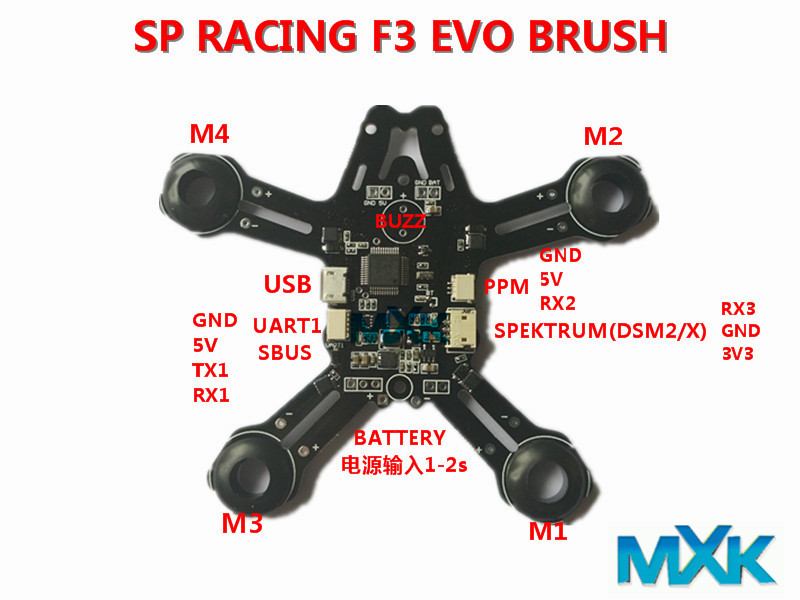 Indoor FPV Tiny 92mm Micro Quadcopter Frame &amp;SP RACING F3 EVO Brush Flight Controller Control  Combo Tiny Whoop Quad Frame<br>