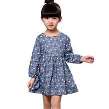 Lowest Price Girl's Princess Dress Baby Kid Long Sleeve Dresses Crew Neck Polka Dot Cotton Vestidos