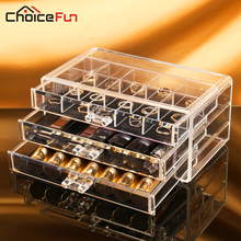 CHOICE FUN Plastic Storage Box Acrylic Makeup Organizer Cosmetic Organizer Makeup Case Jewelry Box Organizer SF-1005-7(China)