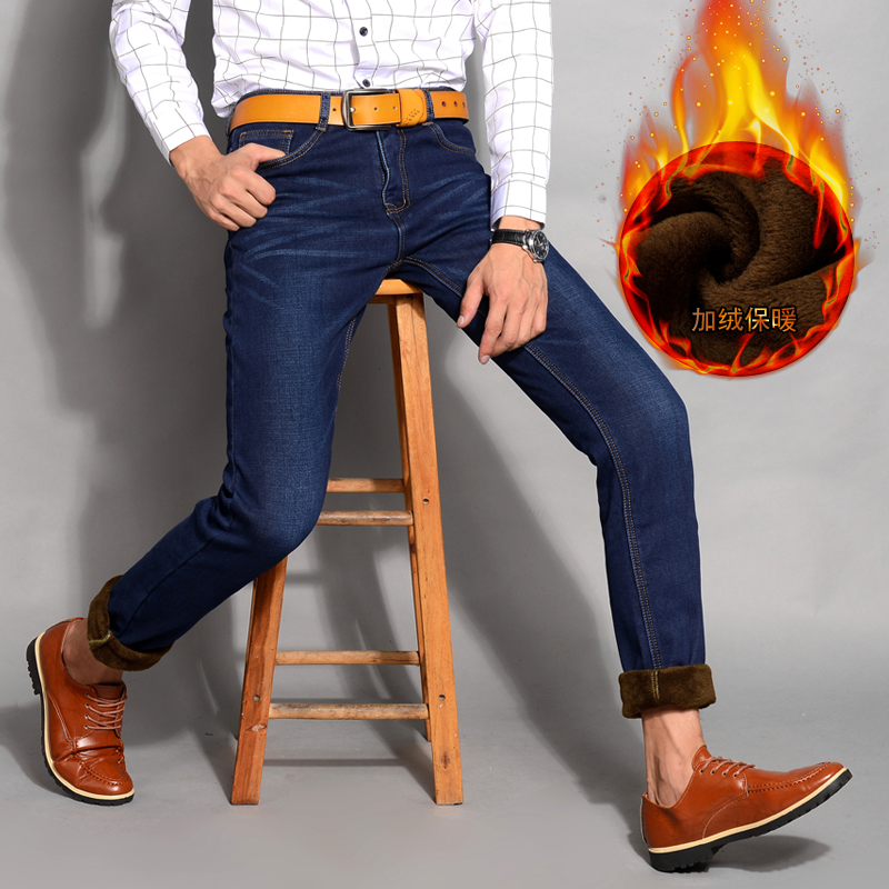 2017 Stretch New Men Activities Warm Jeans  Autumn Winter Jeans warm flocking warm soft men jeans Blue and Black 2 colors Одежда и ак�е��уары<br><br><br>Aliexpress