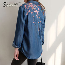 ShowMi Ladies Blue Flower Embroidery Blouse 2017 Spring Summer High Quality Fashion Casual Cotton Denim Long Sleeve Shirt Women(Hong Kong)