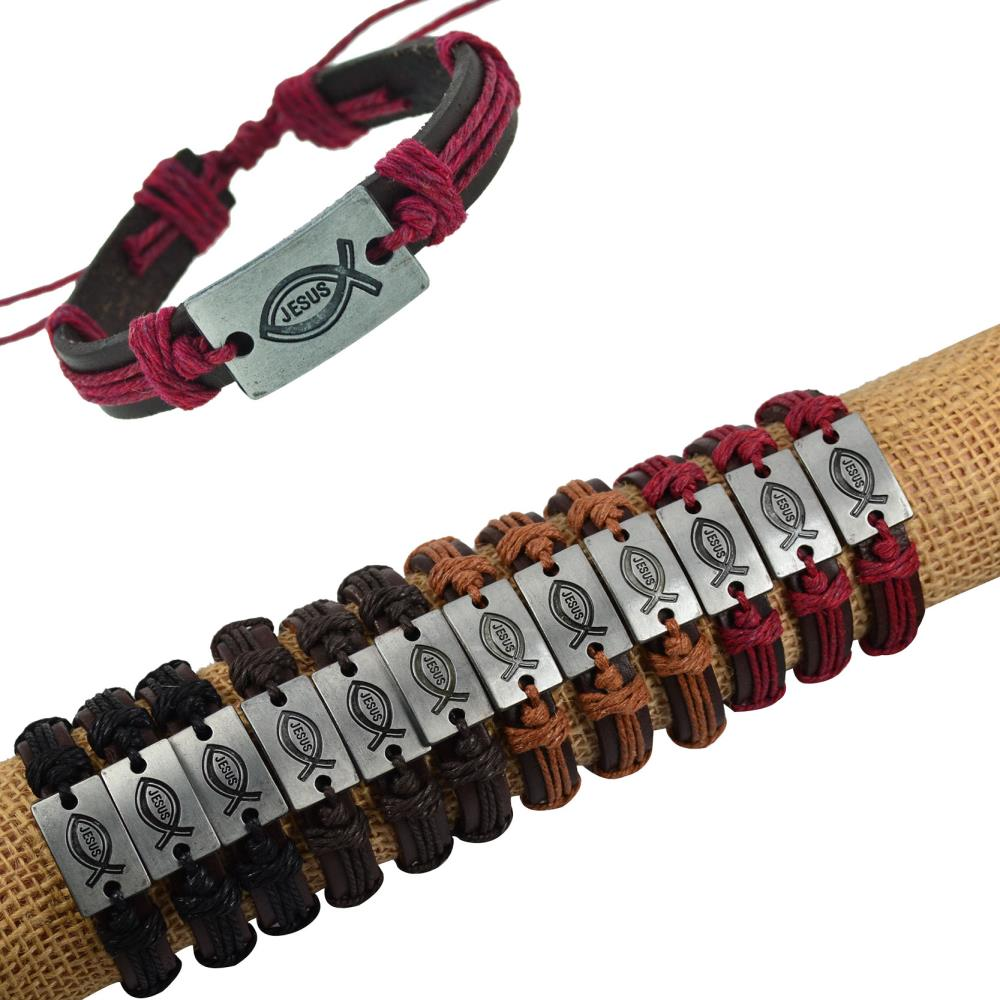 Jiayiqi Wholesale 12pcs Genuine Leather Bracelet Bangles Jesus Charm  Bracelet Wrap Hemp Cuff Bracelets Women Men