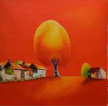 100%Hand Painted  Modern Vietnam Landscape Canvas Painting Red Color Based A Big Tree in A Village Wall Picture for Living Room