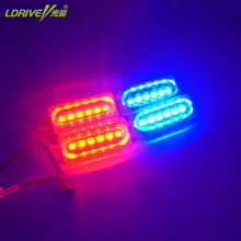 4PC 6LED 12V Waterproof High Power Car LED Strobe Lights Flashing Emergency Vehicle Warning Light red blue Flash Lightbar Dash