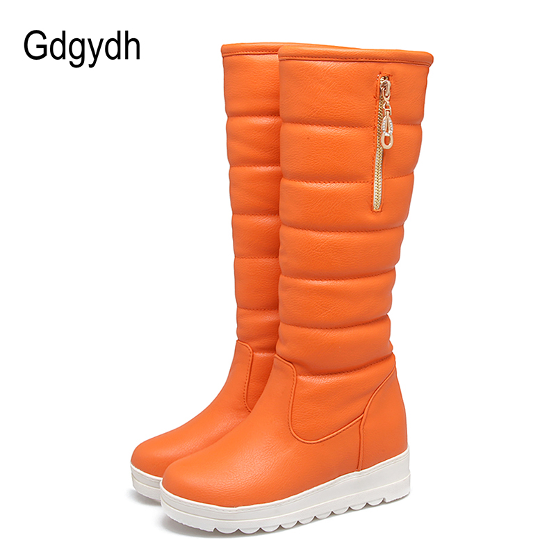 Gdgydh Fashion Chain Winter Shoes Women Snow Boots Knee High Thickening Fur Inside Warn Shoes For Wintry Ladies Outerwear Shoes<br>