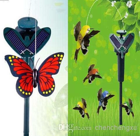 New Solar hummingbirds butterflies garden toys educational toys solar Energy and battery combo can choose style Christmas(China (Mainland))