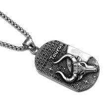 HIP Punk 12 Zodiac Sign Men Taurus Charm Necklaces & Pendants Solid Casting Stainless Steel Dog Tags Necklace for Men Jewelry