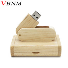 VBNM The New wood usb with gift box USB Flash Drive Flip Type Wooden Box+Wooden chip Pendrive Memory Stick LOGO customized(China)