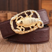 gold buckle ostrich style cowhide genuine leather high quality belts for mens luxury 2017 new arrival hot designer scorpion blue(China)