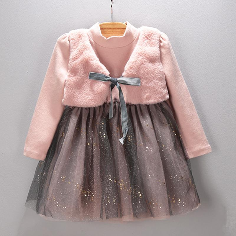 Bear Leader Grils Dress 2017 New Winter Dresses Children Clothing Princess Dress Pink Long Sleeve Wool Bow Design Girls  Clothes<br><br>Aliexpress